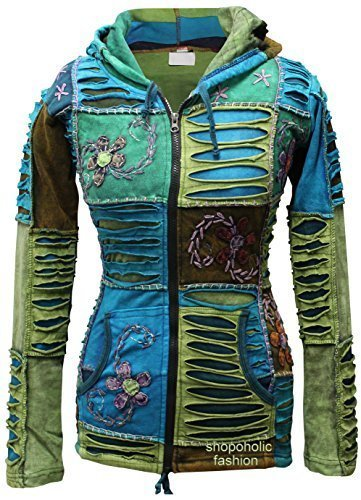 Cut Hoody - Shopoholic Fashion Women Blue Embroidery Razor Cut Hoodie [3XL]