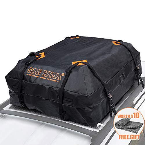 Rooftop Cargo Bag - (15 Cubic Feet) Heavy Duty Roof Bag - 100% Waterproof Excellent Quality Car Top Carrier Bag Fits All Cars with/Without Rack - Roof Top Car Bag (Top Car Storage)