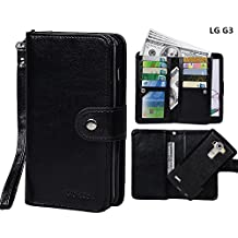Case for LG G3, xhorizon TM SR [Upgrade] 2 in 1 Leading Design Top Notch Bifold Magnetic Car Mount Phone Holder Compatible Folio Premium Leather Wallet Case Cover for LG G3