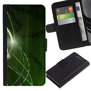 Billetera de Cuero Caso Titular de la tarjeta Carcasa Funda para Sony Xperia Z1 Compact D5503 / Green Lines / STRONG