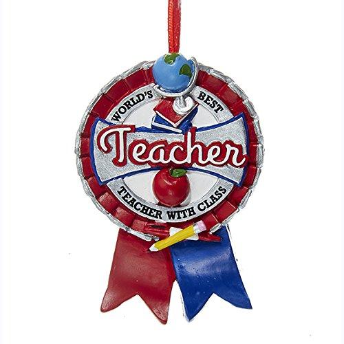 [Kurt Adler Worlds Best Teacher Ribbon Resin Christmas Ornament] (Best Christmas Ornaments)