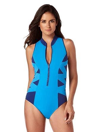 bb1d938e1ac2 Magicsuit Women's Swimwear Scuba Blake Zip Front High Neck One Piece  Swimsuit with Soft Cup Bra
