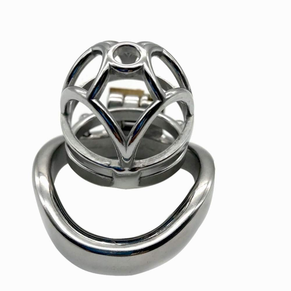 Craige Pop Openwork Pattern Chastity Device Stainless Steel Cock Cage Metal Male Chastity Belt Penis Ring Bondage Sex Toys Lock,Ring Size 45cm