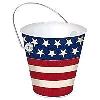 "Americana Metal Bucket Patriotic 4th of July Party Tableware, 4"""