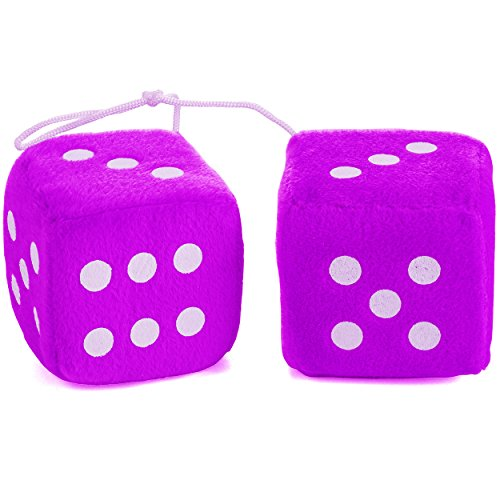 Purple Fuzzy Car Dice - Good Luck Charm Fuzzy Dice In Purple For Car by Funny Party Hats