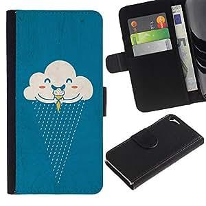 iBinBang / Flip Funda de Cuero Case Cover - Crema Lluvia feliz de la historieta - Apple Iphone 5 / 5S