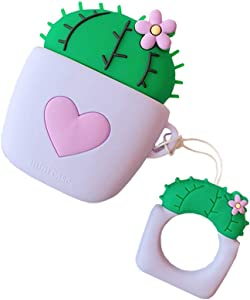ICI-Rencontrer Creative Gardening Flower Ball Cactus Potted Plant Airpods Case Cute Heart Bonsai AirPods Accessories Wireless Charging Earphone Soft Silicone Protector Decoration Purple Heart