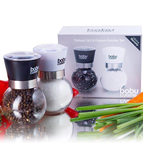 bobuCuisine's Spectacular Glass Globe Salt and Pepper Grinder Set - Easily Adjustable Grinder to Control Coarseness - Cover Lid to Keep Freshness