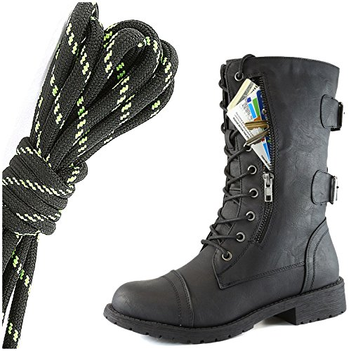 DailyShoes Womens Military Lace Up Buckle Combat Boots Mid Knee High Exclusive Credit Card Pocket, Black Lime Twlight Black
