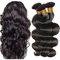 JINREN Brazilian Virgin Hair Body Wave Hair Weave 3 Bundles Full Head Set Unprocessed Virgin Human Hair Weave Natural Black 10-28inch (18inch 20inch 22inch)