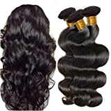 virgin brazilian hair 3 bundles - JINREN Brazilian Virgin Hair Body Wave Hair Weave 3 Bundles Full Head Set Unprocessed Virgin Human Hair Weave Natural Black 10-28inch (16inch 18inch 20inch)