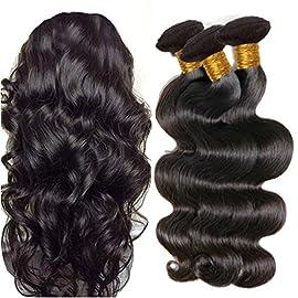 JINREN Brazilian Virgin Hair Body Wave Hair Weave 3 Bundles Full Head Set Unprocessed Virgin Human Hair Weave Natural Black 10-28inch (10inch 12inch 14inch)