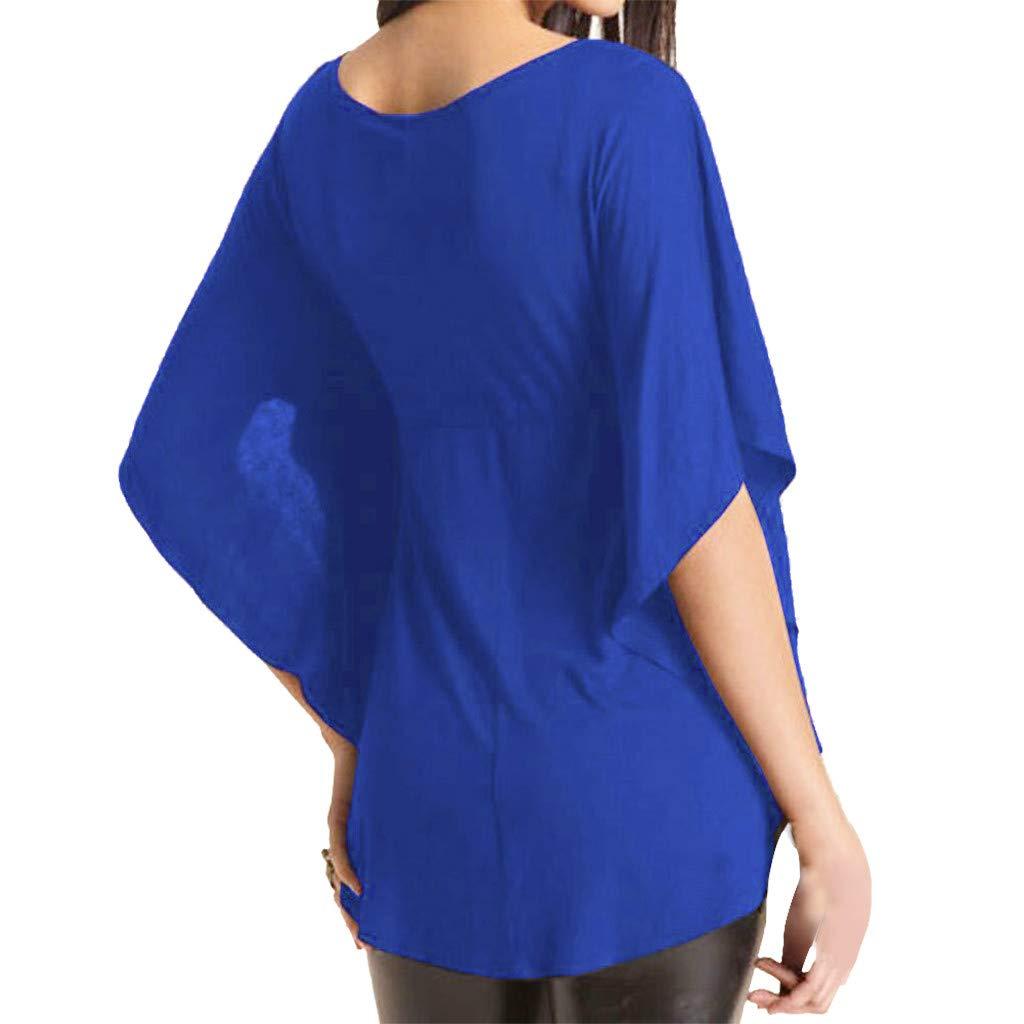 Camisa Suelto para Mujer Tallas Grandes Camiseta Escote V Manga 1//2 Baggy Blusa Tops Mujer Camisa