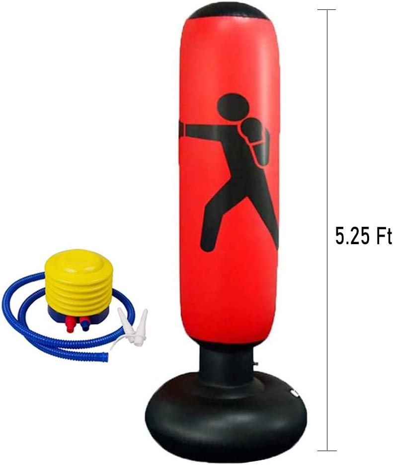Vaso Inflable de Soporte Libre Lake Saco de Boxeo Deportivo Inflable 63 Pulgadas Alivio de presi/ón con Bomba de Aire de pie Que Alivia la presi/ón para Adolescentes Adultos