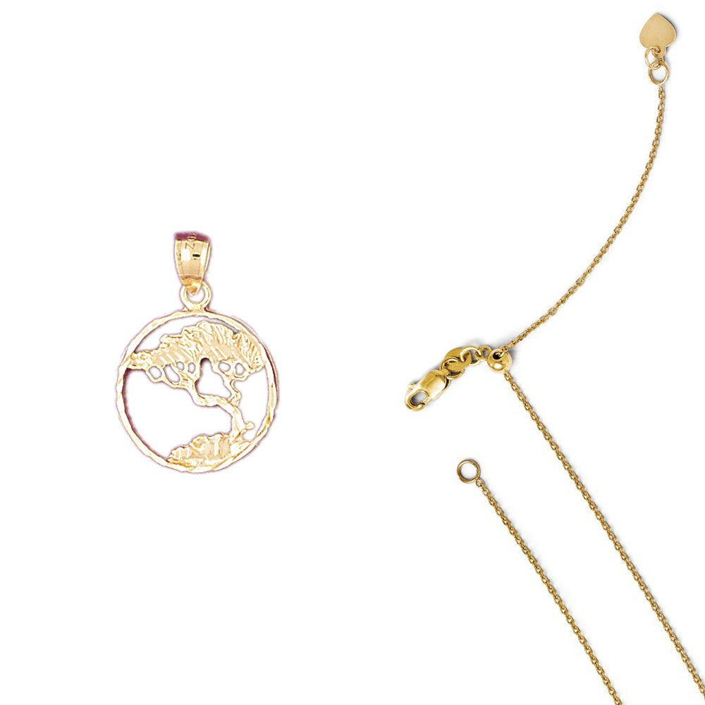 14K Yellow Gold Cedar Tree Pendant on an Adjustable 14K Yellow Gold Chain Necklace