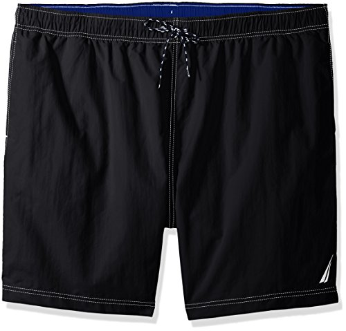 Nautica Men's Big Solid Quick Dry Classic Logo Swim Trunk, True Black, 2XLT Tall