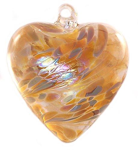 Hand Blown Glass Heart Ornament by Iron Art Glass Designs (Caramel)