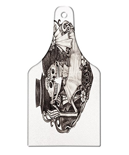 Lunarable Tattoo Cutting Board, Skull Wedding Day of Dead Couple Bride and Groom Endless Love Vintage Artwork Print, Decorative Tempered Glass Cutting and Serving Board, Wine Bottle Shape, Ash ()