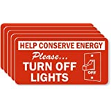 "Help Conserve Energy: Please ... Turn Off, Adhesive Signs and Labels, 5 Labels / Pack, 3"" x 1.5"""