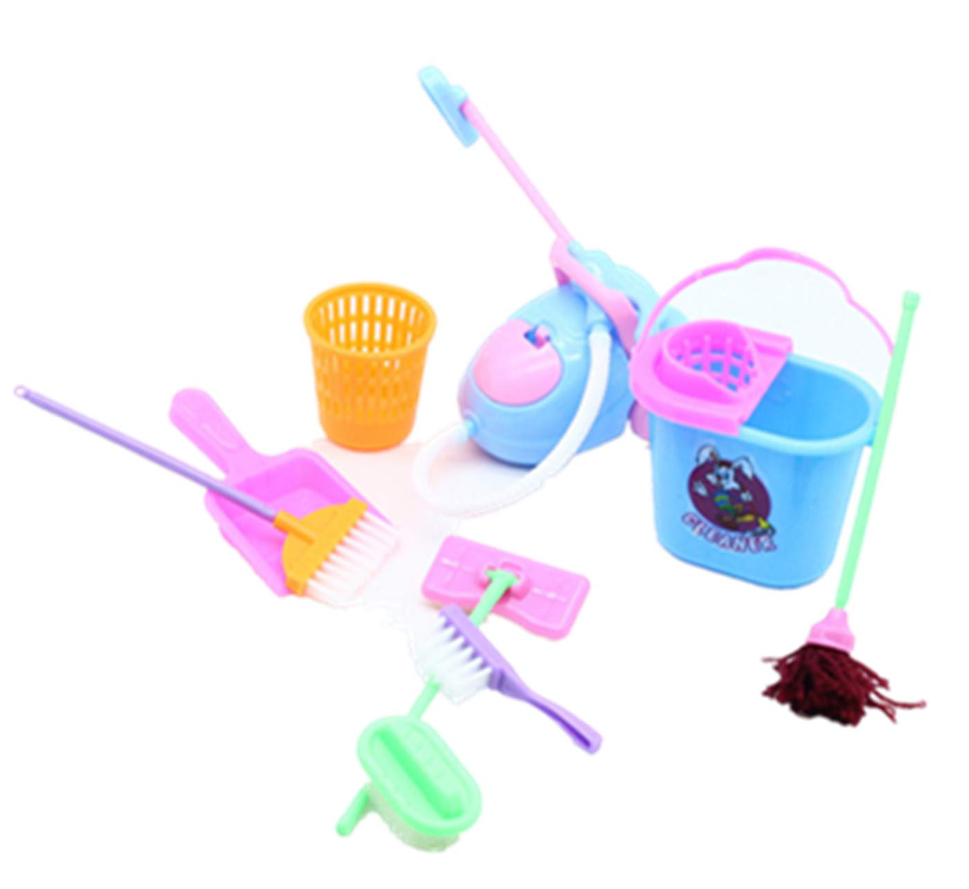 Sale! GreatestPAK 9 pcs Dolls Pretend Play Toys, Cleaning Kit For Barbie Dolls Play Set Educational Plastic Party Gift (Color Random)