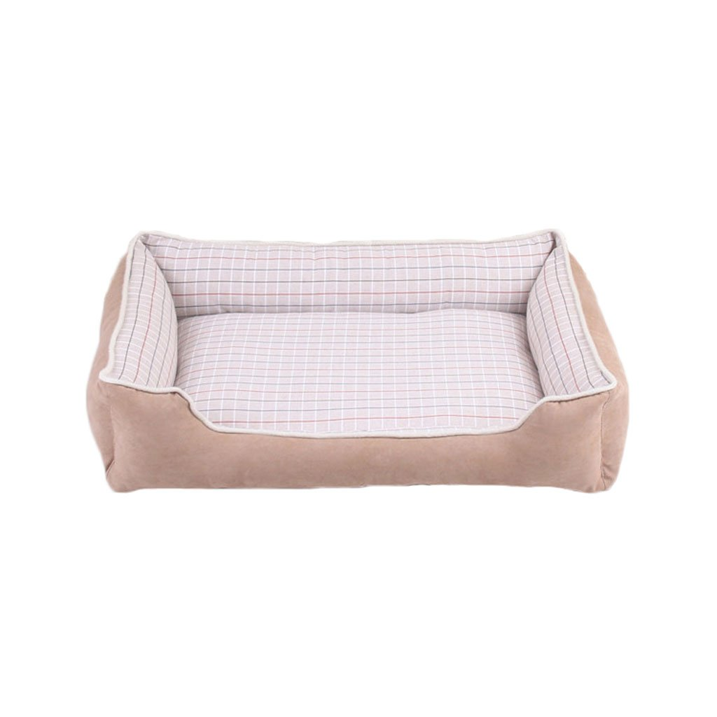 Khaki M Khaki M Moolo Pet Bed Plaid Fabric Kennel Soft And Comfortable Waterproof Non-slip Durable Dog Bed (color   Khaki, Size   M)