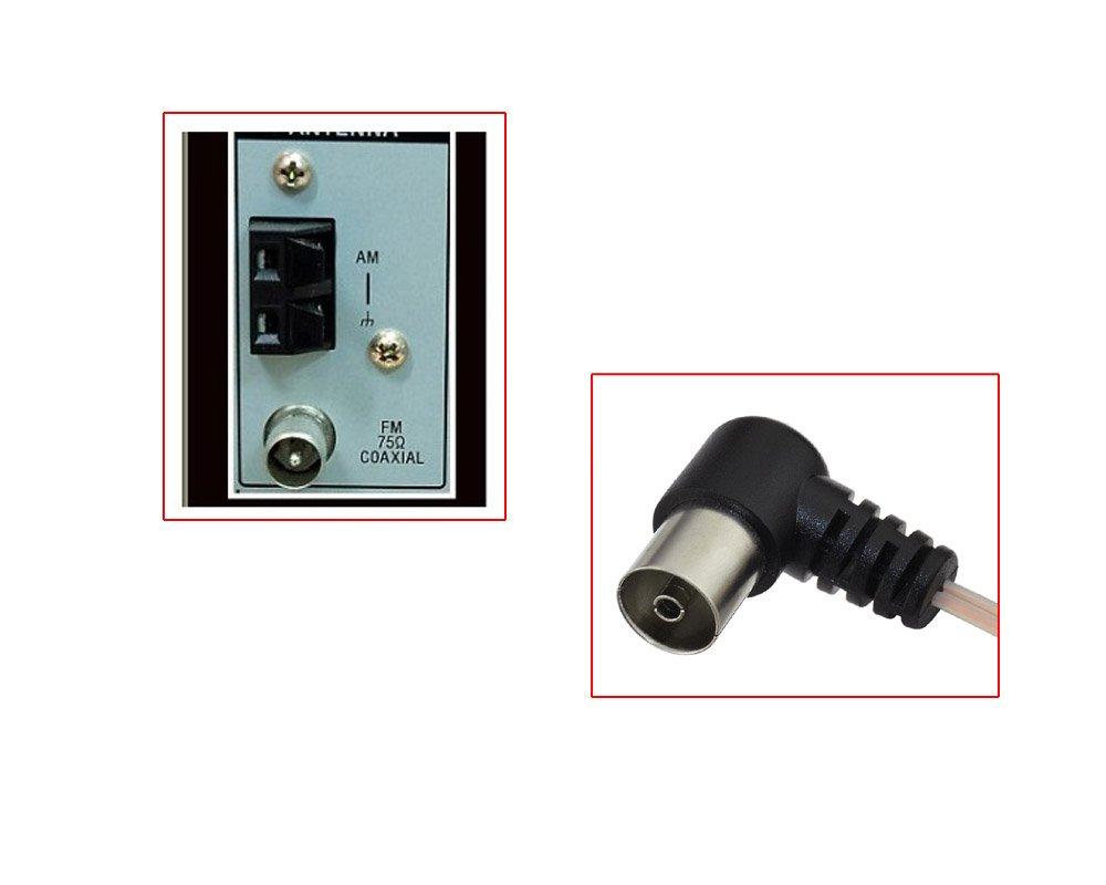 Eightwood FM Antenne 75ohm Unbal F Adapter Signal Antenne f/ür Yamaha JVC Sony Bose Sherwood Pioneer Oenon Panasonic Onkyo Audio MEHRWEG