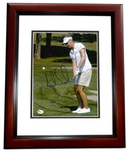 Autographed Annika Sorenstam Photo - 8x10 MAHOGANY CUSTOM FRAME - PSA/DNA Certified - Autographed Golf Photos (8x10 Photo Certified Golf Autograph)