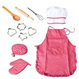 11 Pcs Cooking and Baking Set with Apron for Girls, Chef Hat, Oven Mitt, and Other Cooking Utensils for Toddler Chef Career Role Play, Children Dress up Pretend Play, Great-Gift