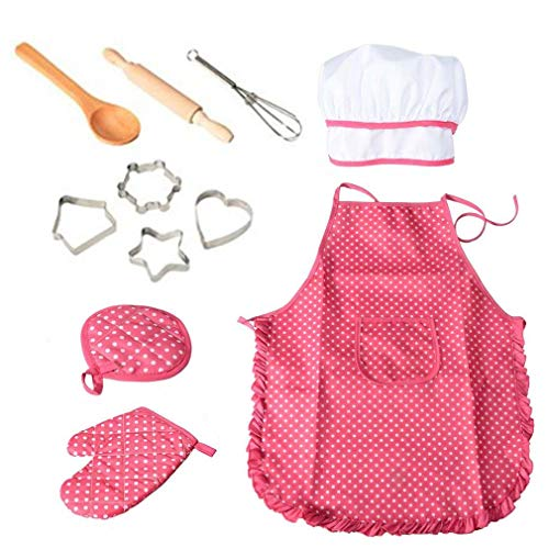 11 Pcs Cooking and Baking Set with Apron for Girls, Chef Hat, Oven Mitt, and Other Cooking Utensils for Toddler Chef Career Role Play, Children Dress up Pretend Play, Great-Gift -