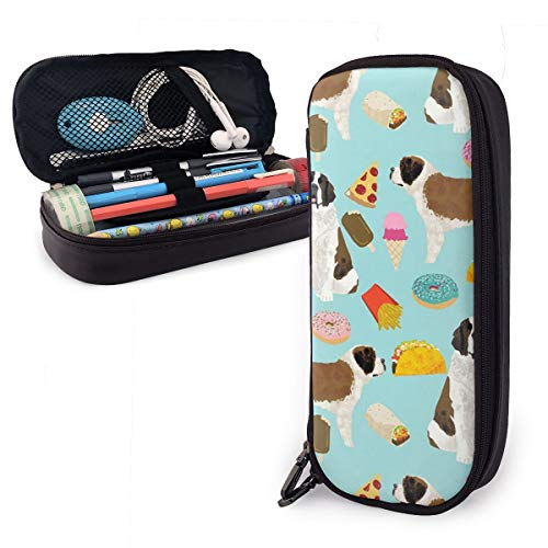 Pencil Case Saint Bernard Junk Food Big Capacity Leather Pencil Bag Durable Students Stationery Zipper for School/Office