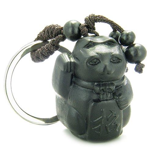 Amulet Sandal Wood Maneki Neko Lucky Cat Feng Shui Good Luck Power Keychain