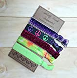 Peace Sign Hair Ties/ Purple Ombre Elastic Hair Band Set / Tie Dye...