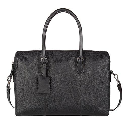 "Cedrus Meeting Bag | Top Grain Leather Briefcase, Messenger Bag, Laptop Bag, Satchel in Black (fits 15"") ()"