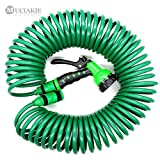 ReeeR MUCIAKIE 50FT (15M) Garden Watering Coil Hose with Water Gun Flexible Expandable Garden Car Wash Hose with Quick Adapter