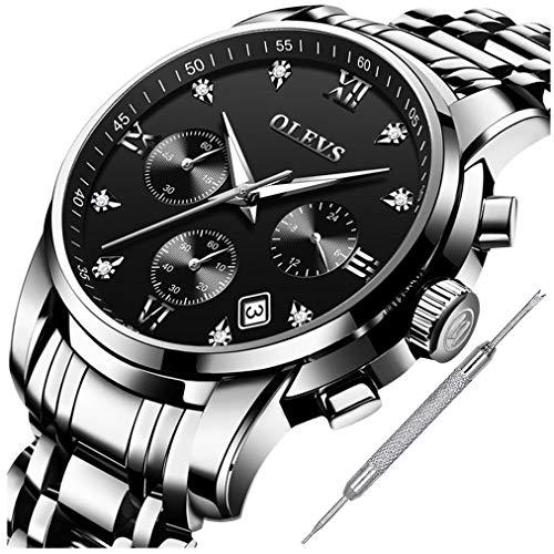 - OLEVS Men Business Dress Chronograph Watches Titanium Steel Roman Number Calendar Date Window Luminous Analog Quartz Casual Wristwatch for Boy Gentleman Male Lover Waterproof Classic Black Clock Gift