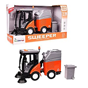 Street Cleaning Trash Car Truck Vehicle With Light And Music Fun Little Toys (Grey And Orange)