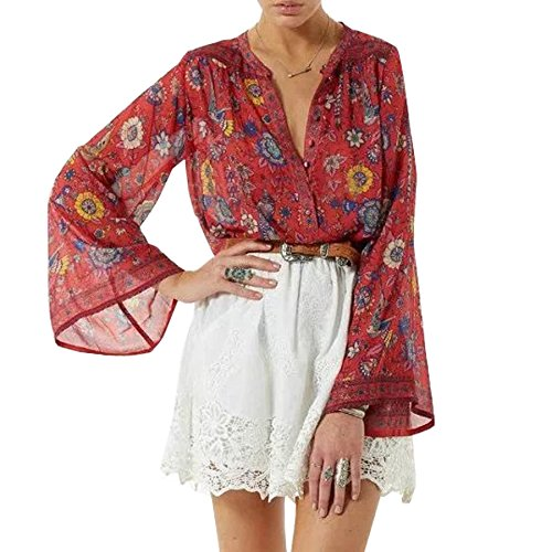 R.Vivimos Women's Long Sleeve Vintage Floral Print Boho Button Up Shirt Cotton Tops Blouses Small Red