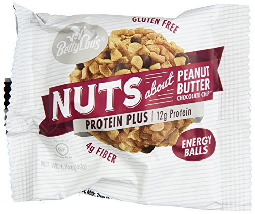 Betty Lou's Protein Plus Peanut Butter Choc. Chip 1.7oz Protein Balls - 12 Count Box (Best Tasting Protein Balls)
