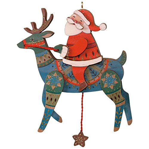 Nordic Santa Ornament (Hallmark Keepsake 2017 Wooden Pull-String Reindeer Premium Wood Christmas Ornament)