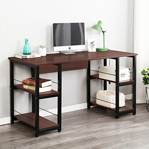 Soges Home Office Desk 55quot Computer Desk Morden Style with Open Shelves Worksation Walnut DZ012140WA