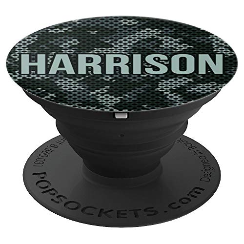 First Name Harrison on Grey Camo Pattern PACH800 - PopSockets Grip and Stand for Phones and Tablets