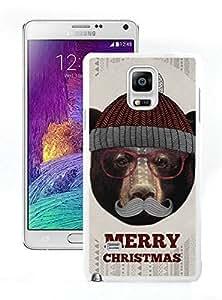 Personalization Christmas Bear White Samsung Galaxy Note 4 Case 1