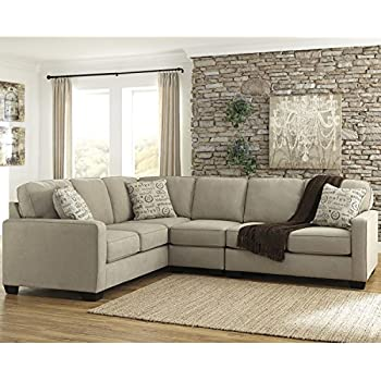 Flash Furniture Signature Design By Ashley Alenya 3 Piece LAF Sofa  Sectional In Quartz Microfiber