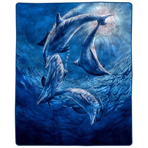 Lavish Home 66-B-Dolphins Heavy Fleece Blanket with Ocean Pa