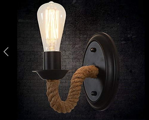 Vintage industriale rustico lampadario applique in corda