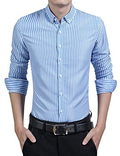 KIMIST Men's Casual Business Vertical Striped Button Down Long Sleeve Dress Shirts (Medium, Light Blue) ()