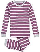 Petit Lem Big Girls' Cotton Candy Stripe 2 Piece Pajama Set, Purple/Grey, 4