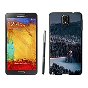 NEW Unique Custom Designed For Case HTC One M8 Cover Phone Case With Winter Snow Forest Chalet Retreat_Black Phone Case