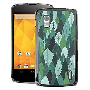 A-type Arte & diseño plástico duro Fundas Cover Cubre Hard Case Cover para LG Nexus 4 E960 (Trees Forest Nature Green Drawing Summer)