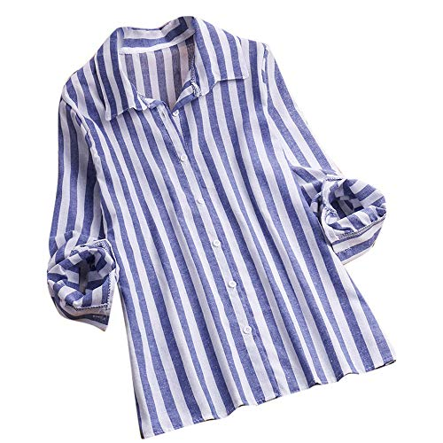 (JESFFER Women Ladies Long Sleeve Stripe Loose Blouse Pullover Button Tops Shirt)